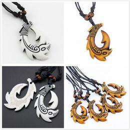 Fish Hook Pendants NZ - New Elegant Tribal Fish Hook Shape Choker Pendant Necklace Charm Jewelry With Black Cord Decor Free Shipping