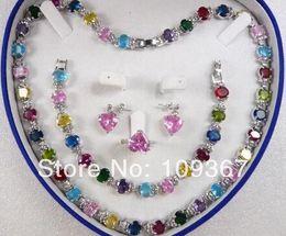 $enCountryForm.capitalKeyWord Australia - Noblest lady's fine Multicolor Zircon Link Bracelet  Earrings  Ring   Necklace Set Silver Jewelry Sets shipping free