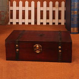 $enCountryForm.capitalKeyWord Australia - Stylish Vintage Wooden Box Wooden box with Lock Jewelry Treasure Chest Case Organizer Manual Wood Box Desktop Storage