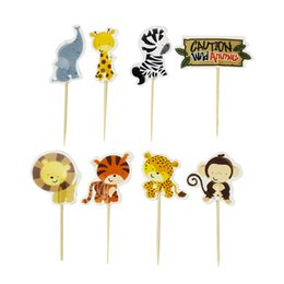 $enCountryForm.capitalKeyWord Australia - 72pcs Cake Toppers Cartoon Animal Cute Cupcake Fruit Dessert Picks for Forest Theme Party Kids Party Birthday Baby Shower
