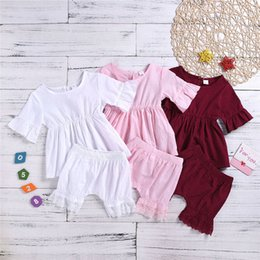 blank kids shirts NZ - Summer INS Newest Infant Toddler Baby Kids Boyls Girls Clothing Suits Blank Cotton Lace Dresses with Ruffles Bloomers Suits