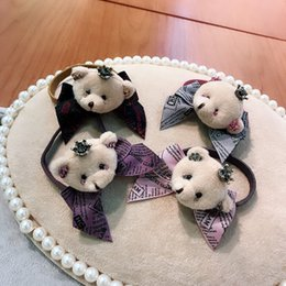 bored hair NZ - 20190823 Cute Bear Head Tie Letter Butterfly Tie Hair Ring