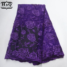 $enCountryForm.capitalKeyWord Australia - African Lace Fabric Latest Purple Tulle France Embroider Lace Beads With Stones Nigeria Guipure Lace Fabric For Party Dress