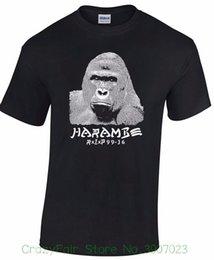 Ripped Black Tee Australia - Harambe Rip T-shirt Gorilla Graffiti Font Unique Hashtag Unisex Mens Ladies Tee Loose Black Men Tshirts Homme Tees