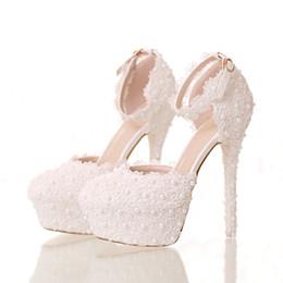 $enCountryForm.capitalKeyWord Australia - Crystal Queen white Lace Flower Sandals Dress Party Shoes 14CM Thin Platform High Heels Sandals Women Weding Shoes