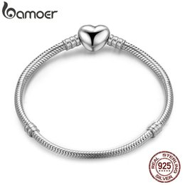 $enCountryForm.capitalKeyWord Australia - Bamoer Authentic 100% 925 Sterling Snake Chain Moments Heart Bracelet & Bangle Luxury Silver Jewelry Pas917 MX190720