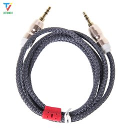 3.5 mm to iphone UK - 300pcs lot 1.5M wool fabric Audio Cable 3.5 mm to 3.5mm Aux Cable Male to Male Kabel Gold Plug Car Aux Cord for iphone Samsung xiaomi