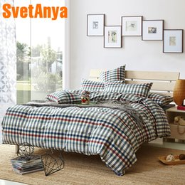 Patterned Sheet Sets Queen Australia - Svetanya Washed Cotton Single Queen King Size Bedding Sets (Pillowcase +flat or fitted Sheet +Duvet Cover ) Plaids Pattern