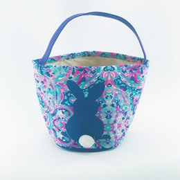 $enCountryForm.capitalKeyWord UK - 60pcs New Arrival Lily Easter Bucket Good Quality Easter Bunny Basket Tote Bags Kids Ester Gift Bucket Candy Tote Bags