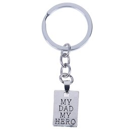 keychain heroes Australia - Family Dad Father Love Jewelry For Christmas Father's Day Gifts MY DAD MY HERO Keychain Tiny Square Keyring Key Chain Holder