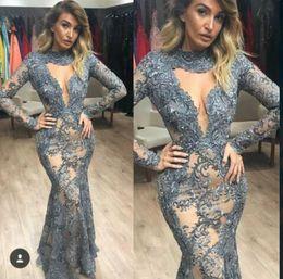 SkieS pictureS online shopping - Yousef aljasmi Lace Prom dress Long kardashian Dress Long Sleeve Lace Applique Tulle Mermaid Kylie Jenner Zuhair murad