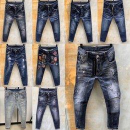 Vente en gros 2020 het D2 Mens Denim Jean Broderie Trous Pantalons Jeans d2Les jeans dsq2 Zipper hommes Pantalons Pantalonshommes Dsquared2 jean qxw23