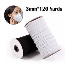 rope spools UK - 3mm DIY Mask Braided Elastic Band Bungee Cord Rope White Heavy Stretch Knit Spool 120 Yards for Sewing Craft Mask Making