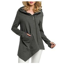 $enCountryForm.capitalKeyWord Australia - JAYCOSIN Women's diagonal zipper irregular jacket top Fashion Solid Long Sleeve Pullover Tops Blouse Sweatshirt Coat Outercoat