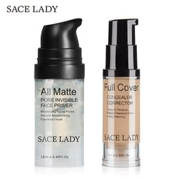 Ladies Makeup Sets NZ - Sace Lady Matte Foundation Primer Full Cover Concealer Cream Liquid Corrector Make Up Kit Base Pores Cosmetic set makeup