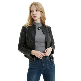 women leather patch jackets UK - 2020 Autumn Spring Pu Leather Jackets Women Long Sleeve Zipper Short Coat Black Pink Faux Leather Coat Outwear