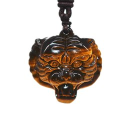 tiger eyes pendant UK - Drop Shipping Natural Tiger Eye Necklace Pendant Tiger Head Drop Transfer Lucky Domineering Men's Crystal Jewelry
