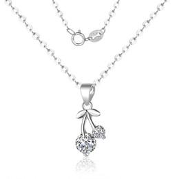 $enCountryForm.capitalKeyWord Australia - Pure 925 silver crystal cherry clavicular chaincreative necklace neck chain pendant for women