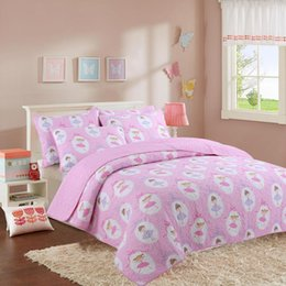 girls twin size bedding sets 2019 - 2 3 Piece 100%Cotton Pink Kids Girls Bedspread Quilts Set Throw Blanket for Teens Girls Bed Printed Coverlet, Twin Full