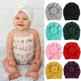 baby boy skull crochet beanies UK - Children Accessories Newborn Toddler Kids Baby Boy Girl Turban Cotton Beanie Hat Winter Warm Soft Cap Solid Knot Soft Wrap