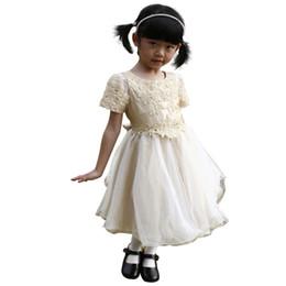 $enCountryForm.capitalKeyWord UK - Champagne Knee Length Scoop Neck Mesh Short Sleeve Beaded Taffeta Mesh Tulle Flower Girl Formal Bridesmaid Dress w  sequins 177241