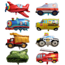special balloons 2019 - 8 Styles Transportation Series Balloon Aluminum Film Special Tank Dumper Truck Ambulance Balloons Children Party Favor 2