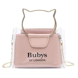 hand bag printed Australia - Tranparent Small Crossbody Handbag For Women 2020 Jelly Clear Letter Print Sling Shoulder Bag Cute Cat Lovely Tote Hand Bag
