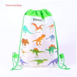 $enCountryForm.capitalKeyWord Australia - Dinosaur Canvas Drawstring Backpack Kids Children 3D Printed Non-woven Bags Pouch Draw String Bag Girls Boys Cord School Bags Backpacks SALE