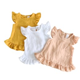 baby girl linen dress Canada - Ruffle Sleeve Summer Girls Blouses Tops Linen Cotton Lace Casual Children Kids Baby Girl Clothes Shirts Dress