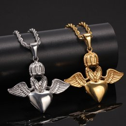 $enCountryForm.capitalKeyWord Australia - Hip Hop Gold Silver Color Stainless Steel Crown Angel Wing Heart Pendants Necklace for Men Rock jewelry