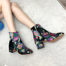 Ethnic shoEs womEn online shopping - Teahoo Silk Embroider Ankle Boots For Women Retro Flowers Women Boots Ethnic Style High Heel Winter Shoes Woman
