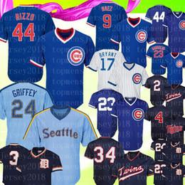 2771ddbd3 Retro Chicago 9 Cubs Javier Baez 44 Anthony Rizzo Kris Bryant Jersey  Seattle 24 Mariners Ken Griffey Jr. 34 Kirby Puckett Trammell Baseball