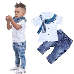 $enCountryForm.capitalKeyWord Australia - Brand new 1Set Kids Baby Boys Short Sleeve T-Shirt Tops+Scarf+Trousers Clothes Outfits trendy cool stylish August 11