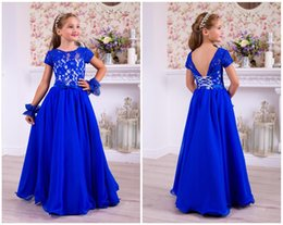 $enCountryForm.capitalKeyWord Australia - Blue Lace Chiffon Vintage Flower Girl Dress Long Summer Girls Brithday Dress Long Blue Chiffon Kids Dress