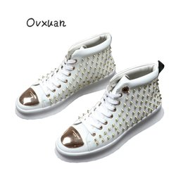 Metal Sneakers Australia - White Sheet Metal B Coin Rivet Luxury Brand Men High Top Shoes Casual Loafers Male Trendy Fashion Prom Dress Sneakers Flat Shoes