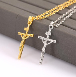 jesus cross chain silver NZ - High Quality Jesus Cross Pendant Necklace Bone Carving Hip-hop Gold Silver Plated Metal Collar Clavicle Chain Women Wedding Jewelry Gifts