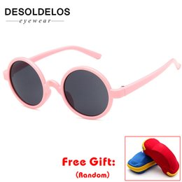 Wholesale 2019 Hot Black Round Sunglasses Cute Baby Eyewear Children Fashion Shades Boys Girls Lovely Vintage Design Brand With Box