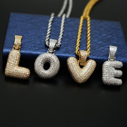 $enCountryForm.capitalKeyWord NZ - Mens Hip Hop Jewelry New Fashion Iced Out A~Z Letter Pendant Necklace with Silver Gold Twist Chain