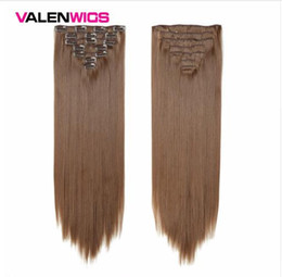 """Discount light clip hair extensions - Synthetic Hair Extensions Clip In Hair Extensions 22"""" 100g Full Head Clip On Hair Extension Straight Fiber HairPiec"""