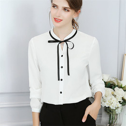 $enCountryForm.capitalKeyWord NZ - New Spring Autumn Tops Office Ladies Blouse Fashion Long Sleeve Bow Slim White Shirt Female Cute Designer Bodycon Work Blouses Blusas