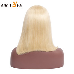 $enCountryForm.capitalKeyWord NZ - Straight Short Bobo Wigs Blonde Color 8-14 Inch Lace Front Wigs Pre-plucked With Baby Hair 100% Remy Hair