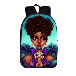 Discount girl laptop satchel - Fashion School Bags Black Girls Afro Lady Print School Backpacks Large Capacity Travel Daypack Canvas Laptop Satchel