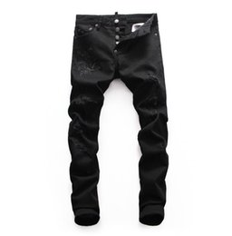 Chinese  D2019 High quality fashion New Style Brand Men's Denim Jean Embroidery Tiger Pants Holes Jeans Zipper Men Stretch hole jeans #8651 manufacturers