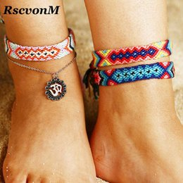 Runes jewelRy online shopping - Adjustable Vintage OM Rune Weave Anklets For Women Handmade Cotton Anklet Bracelets Female Beach Foot Jewelry Gifts Set