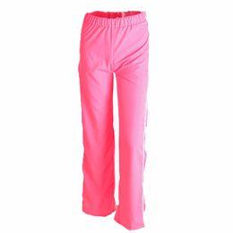 f5aebff66132 Women Pure Color Wide Leg Pants Cut off Split Side Buttons Jogger Fashion Casual  Trousers(M