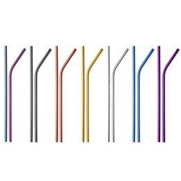 Toptan satış Paslanmaz Çelik Metal Payet İçme, Gökkuşağı Çok Renkli Saman, 20oz Tumblers 21.5cm için Yeniden Kullanılabilir İçecek Samanı (Rastgele Renk)