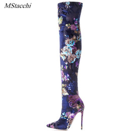 Open tOe bOOts stilettO online shopping - Mstacchi Sexy Stiletto Sock Women Booties Stretch Boots Women High Heels Over The Knee Boots Fashion Botas Mujer Shoes