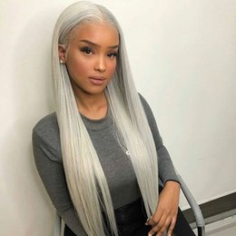 Gray hair wiGs online shopping - Grey Color Brazilian Full Lace Human Hair Wigs For Black Women Silky Straight Virgin Remy Peruvian Gray Color Lacefront Wig Pre Plucked Blea