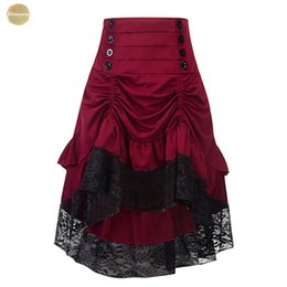 $enCountryForm.capitalKeyWord Australia - Costumes Steampunk Gothic Skirt Lace Women Clothing Ruffle Party Skirts Lolita Red Medieval Victorian Gothic Punk Low Skirt