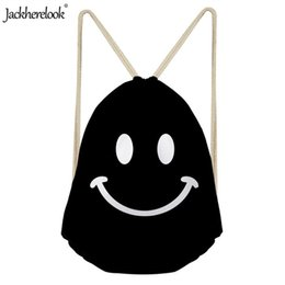 $enCountryForm.capitalKeyWord UK - Jackherelook Cartoon Smile Face Print Bags Women Ladies Reusable Drawstring Backpack Travel Light Hiking Large Bagpack Outdoor